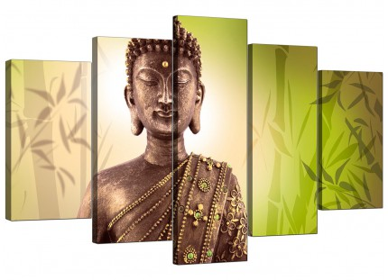 Extra Large Abstract Buddha Lime Green Bamboo Zen Canvas - 5 Set - 160cm - 5100