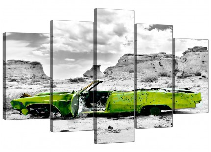 Abstract Lime Green Grey Car Desert Landscape XL Canvas - 5 Panel - 160cm - 5143