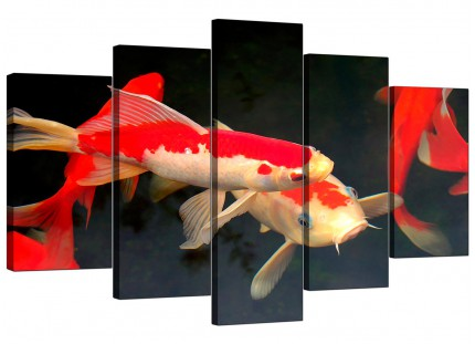 Extra Large Japanese Koi Carp Fish Pond Canvas - Set of 5 - 160cm - 5094