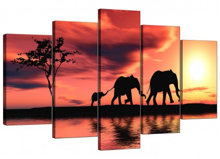 Extra Large African Sunset Elephants Landscape Canvas - 5 Panel - 160cm - 5102