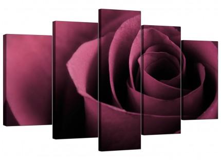 Extra Large Plum Coloured Rose Petal Flower Floral Canvas - 5 Set - 160cm - 5111