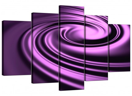 Extra Large Purple Black Swirl Design Abstract Canvas - Set of 5 - 160cm - 5058