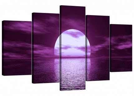 Extra Large Purple Sunset Ocean Sky Landscape Canvas - 5 Set - 160cm - 5002
