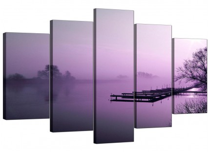 Purple Sunset Jetty Lake View Landscape XL Canvas - 5 Piece - 160cm - 5119