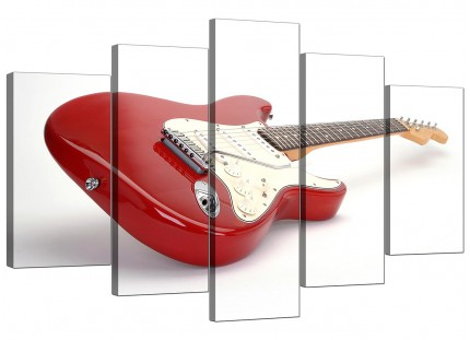 Extra Large Red White Fender Electric Guitar Music Canvas - 5 Set - 160cm - 5007