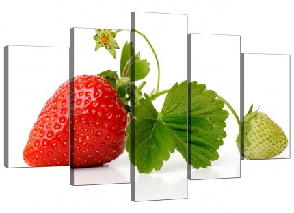Red Green Strawberry Modern Fresh Kitchen XL Canvas - 5 Part - 160cm - 5074