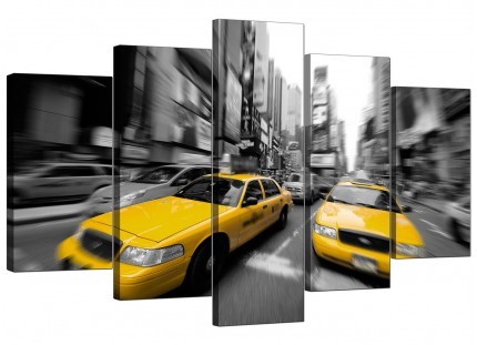 Black White Yellow Grey New York Taxi Cityscape XL Canvas - 5 Set - 160cm - 5028