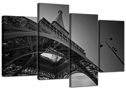 Black White Eiffel Tower Paris City Canvas - Multi 4 Piece - 130cm - 4016