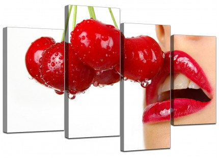 Cherry Red Lips on White Canvas - Split 4 Piece - 130cm - 4049