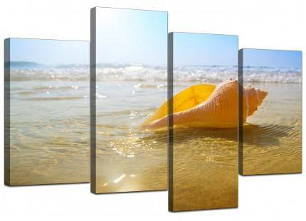 Yellow Blue Shells Landscape Bathroom Beach Canvas - Multi 4 Part - 130cm - 4148