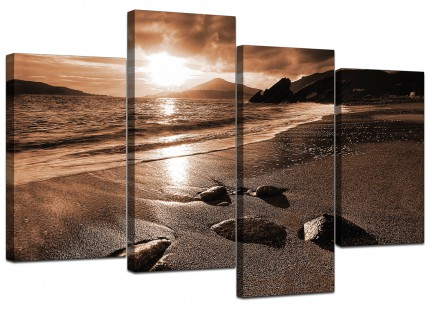 Brown Beige Sunset Beach Scene Landscape Canvas - Split 4 Piece - 130cm - 4076