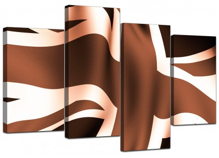 Brown and Cream Union Jack Flag Abstract Canvas - Split 4 Set - 130cm - 4011