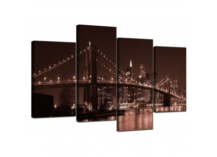 Brown Brooklyn Bridge New York Skyline City Canvas