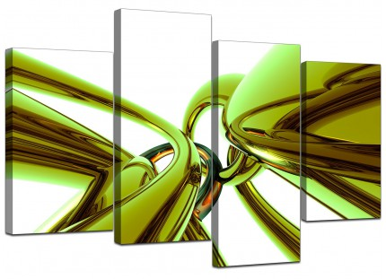 Lime Green and White Neon Abstract Canvas - Split 4 Piece - 130cm - 4035