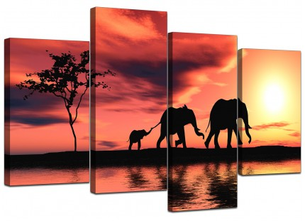 African Sunset Elephants Landscape Canvas - Multi Set of 4 - 130cm - 4102