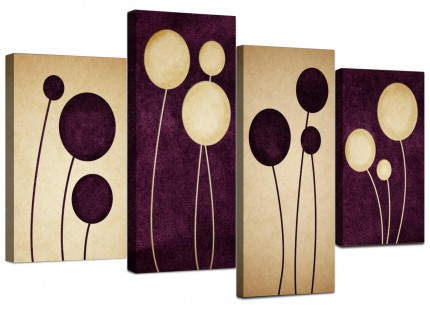 Purple Cream Flowers Modern Abstract Floral Canvas - 4 Piece Set - 130cm - 4124