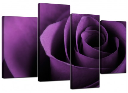 Purple Rose Petal Flower Floral Canvas - Multi 4 Piece - 130cm - 4112