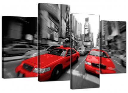 Red Black White Grey New York Taxi Cab City Canvas - Split 4 Part - 130cm - 4025