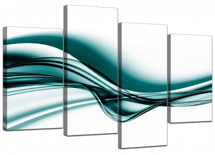 Teal Coloured White Modern Wave Abstract Canvas - Multi 4 Piece - 130cm - 4033