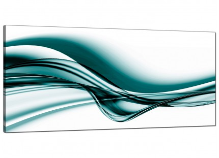 Large Teal Coloured White Modern Wave Abstract Canvas Art - 120cm - 1033