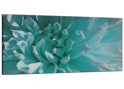 Large Teal Blue Chrysanthemum Flower Floral Modern Canvas Art - 120cm - 1103