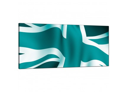 Large Teal Green Blue Union Jack Flag Abstract Modern Canvas Art - 120cm - 1010