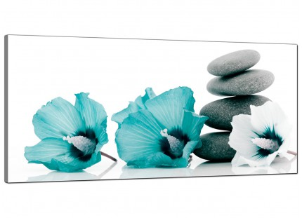 Large Teal Grey White Flowers Zen Stones Floral Modern Canvas Art - 120cm - 1072