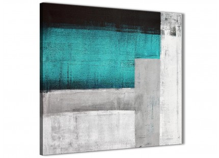 Teal Turquoise Grey Painting Bathroom Canvas Wall Art Accessories - Abstract 1s429s - 49cm Square Print