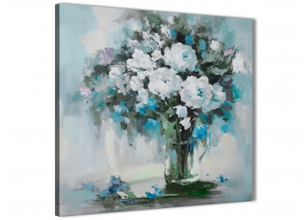 Teal White Flowers Painting Kitchen Canvas Wall Art Accessories - Abstract 1s440s - 49cm Square Print