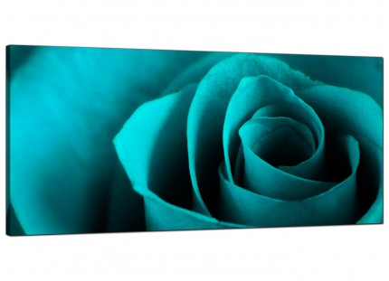 Large Teal Turquoise Blue Rose Petal Flower Floral Canvas Wallart - 120cm - 1109