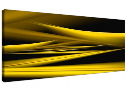 Large Yellow Black Modern Contemporary Waves Abstract Canvas Art - 120cm - 1257