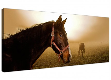 Large Brown Horse Mare and Foal Sunrise Modern Canvas Art - 120cm - 1130