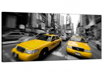 Large Black White Yellow Grey New York Taxi Cityscape Canvas Art - 120cm - 1028