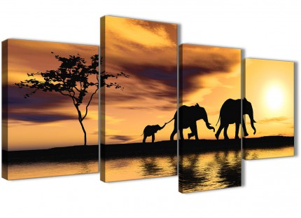 Large African Sunset Elephants Canvas Art Prints - Animal - 4479 Mustard Yellow - 130cm Set of Pictures
