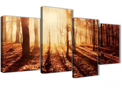 Large Autumn Leaves Forest Scenic Landscapes Canvas Wall Art - Trees - 4386 Orange - 130cm Set of Pictures