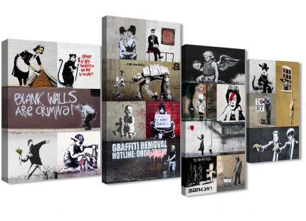 Large Banksy Collage - Living Room Canvas Pictures Decor - 4500 - 130cm Set of Prints