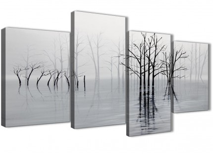 Large Black White Grey Tree Landscape Painting Living Room Canvas Pictures Decor - 4416 - 130cm Set of Prints