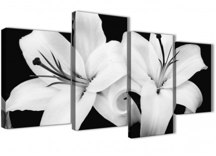 Large Black White Lily Flower Bedroom Canvas Pictures Decor - 4458 - 130cm Set of Prints