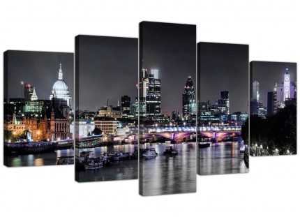 Extra Large London Skyline at Night City Canvas - 5 Part - 160cm - 5211