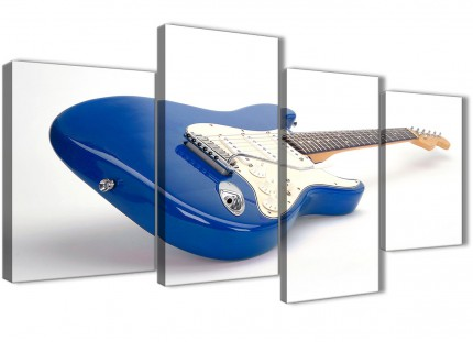 Large Blue White Fender Electric Guitar - Bedroom Canvas Wall Art Decor - 4447 - 130cm Set of Prints