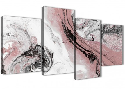 Large Blush Pink and Grey Swirl Abstract Bedroom Canvas Wall Art Decor - 4463 - 130cm Set of Prints