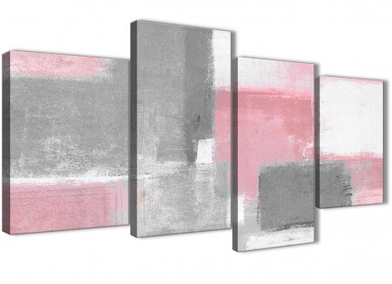 Large Blush Pink Grey Painting Abstract Bedroom Canvas Pictures Decor - 4378 - 130cm Set of Prints