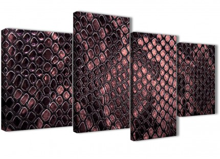 Large Blush Pink Snakeskin Animal Print Abstract Bedroom Canvas Pictures Decor - 4473 - 130cm Set of Prints