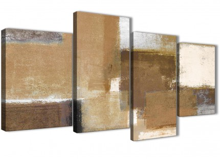 Large Brown Cream Beige Painting Abstract Bedroom Canvas Pictures Decor - 4387 - 130cm Set of Prints