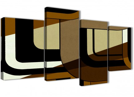 Large Brown Cream Painting Abstract Living Room Canvas Wall Art Decor - 4413 - 130cm Set of Prints