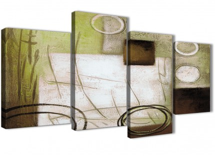 Large Brown Green Painting Abstract Bedroom Canvas Pictures Decor - 4421 - 130cm Set of Prints