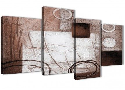 Large Brown White Painting Abstract Living Room Canvas Pictures Decor - 4422 - 130cm Set of Prints