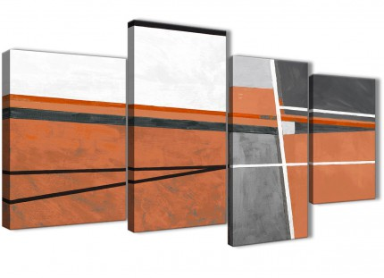 Large Burnt Orange Grey Painting Abstract Bedroom Canvas Wall Art Decor - 4390 - 130cm Set of Prints
