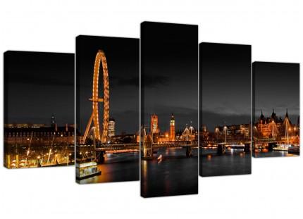 Panoramic London Eye at Night Big Ben City XL Canvas - 5 Part - 160cm - 5186