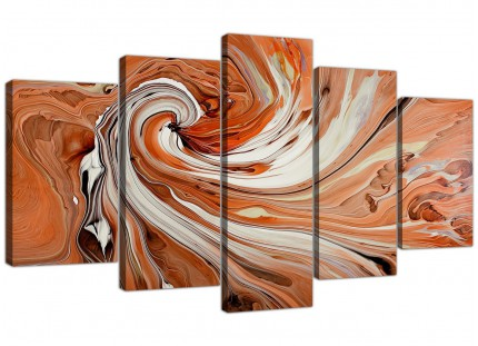 Modern Orange White Swirls Contemporary Abstract XL Canvas - 5 Set 160cm - 5264